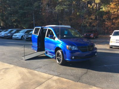 Blue Dodge Grand Caravan with Side Entry Manual In Floor ramp
