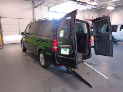 Black Mercedes-Benz Metris with Rear Entry Manual Fold Out ramp